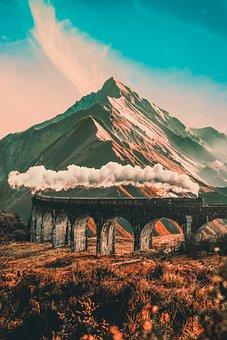 Mountain, Train, Cl, Mountains, Railway, Landscape