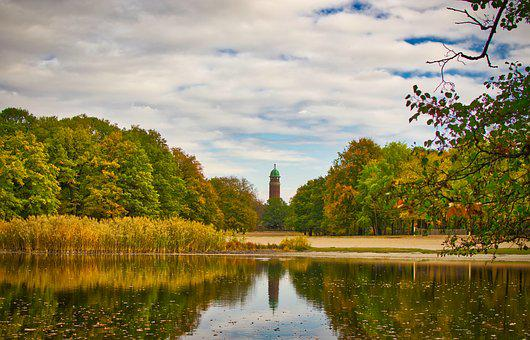 Water Tower, Mirroring, Autumn, Nature, Sky, Water