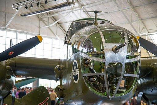 Nose Gun, Bombardier, Cockpit, B-25, Mitchell, Aircraft