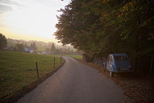 Autumn, Road, Scenic, Away, Travel, Old Car, Hiking