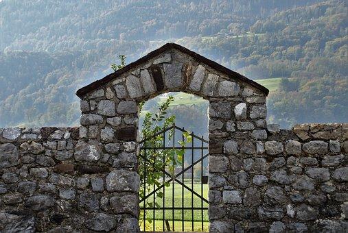 Lake Dusia, Stone, Vineyard, Grape, Gate, Old, Pattern