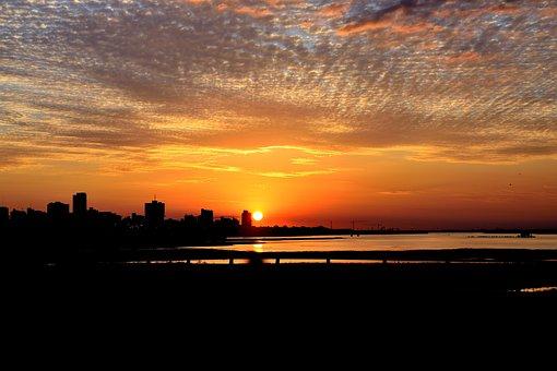 Glow, Red Color, Cbd, Riverside, Horizon, Scenery