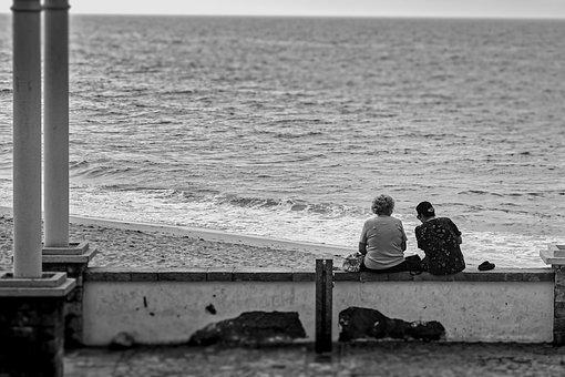 Women, Seashore, Sitting, Chatting, Ocean, Beach, Sand