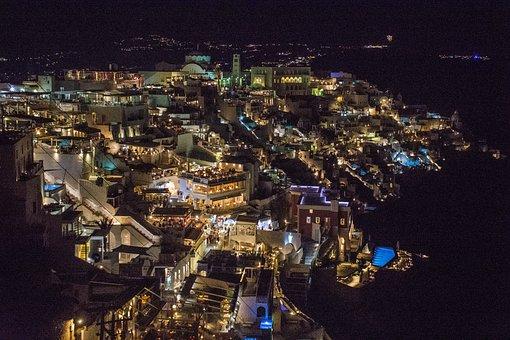 Night, City, Cliff, Lights, Sea, Thira, Santorini