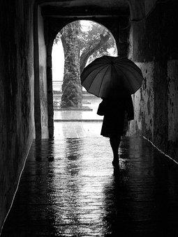 Rain, Umbrella, Silhouette, Door, Woman, Winter, Wet
