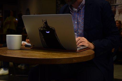 Computer, Work, Batman, Sticker, Coffee, Starbucks, Guy