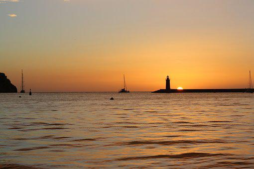 Sunset, Sailing Boat, Lighthouse, Sun, Ship, Sea
