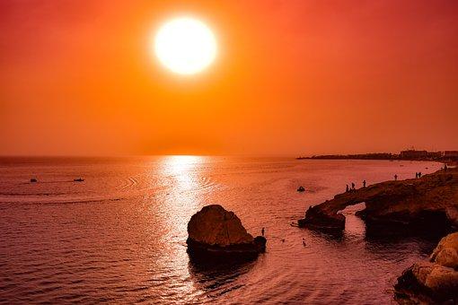 Cyprus, Ayia Napa, Lovers Bridge, Sunset, Sun, Sea