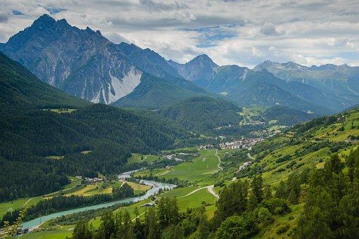 Valley, Alps, Village, Switzerland, River, Landscape