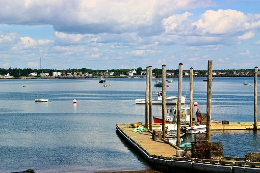 Maine, Fishing, Village, Dock, Ocean, Water, Harbor