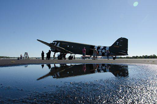Airplane, Airport, Ww2, Vintage, Reflection