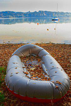 Dinghy, Rubber Boot, Lake, Water, Nature, Reflection