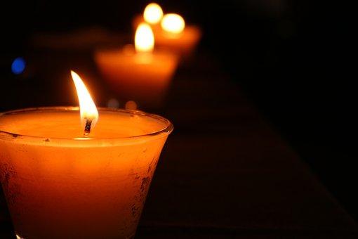 Candles, Orange, Fire, Flame, Wax, Winter, Gloomy