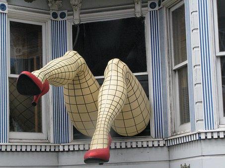 Window, Mannequin, Legs, Woman, High Heels Shoes