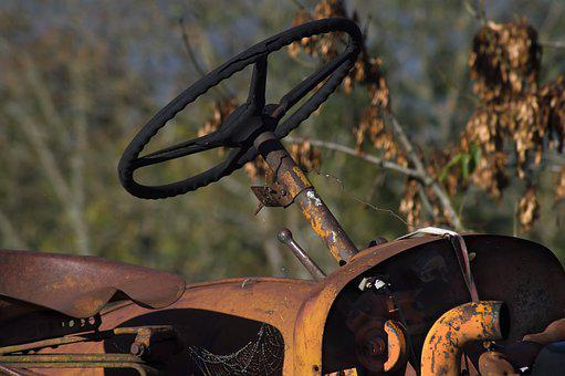 Tractor, Steering Wheel, Old, Machine, Agriculture
