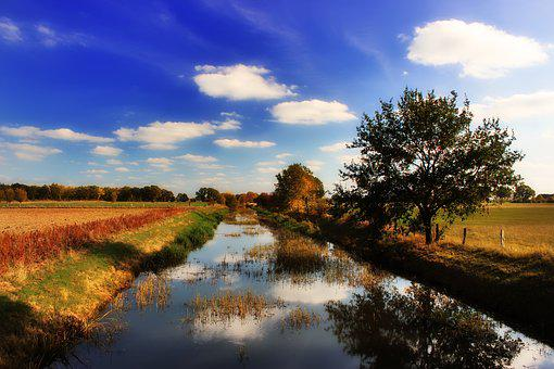 River, All, Northern Germany, Autumn, Water, Clouds