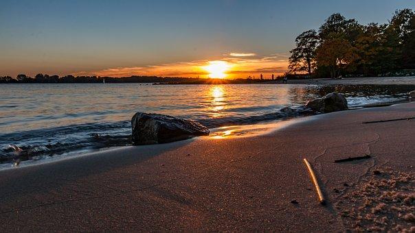 Hamburg, Wedel, Beach, Elbe, Water, Sky, Landscape