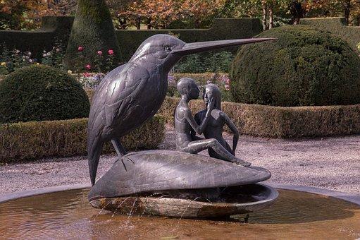Bronze Statue, Bronze Bird, Fountain, Sculpture