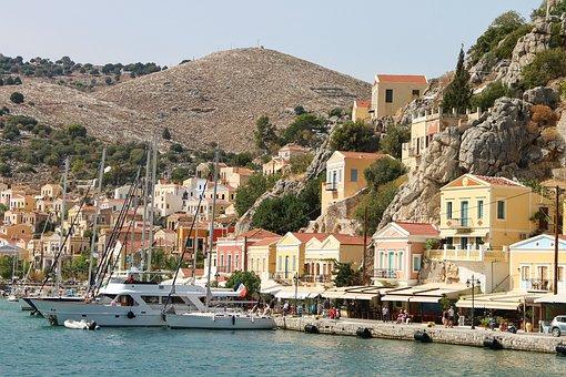 Symi, Greece, City, Port City, Island, Building, Houses