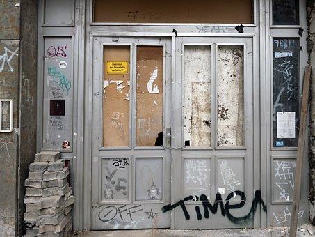 Door, Old, Input, Demolished House, Graffiti