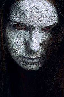 Cracked, Skin, White, Texture, Red, Eyes, Halloween
