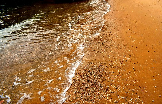 Sand, Red Sand, Beach, Sea, Sea Foam, Foam, Pebbles