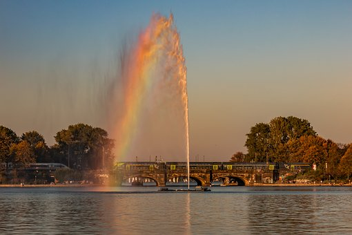 Alster, Fountain, Hamburgisch, Binnenalster, Water
