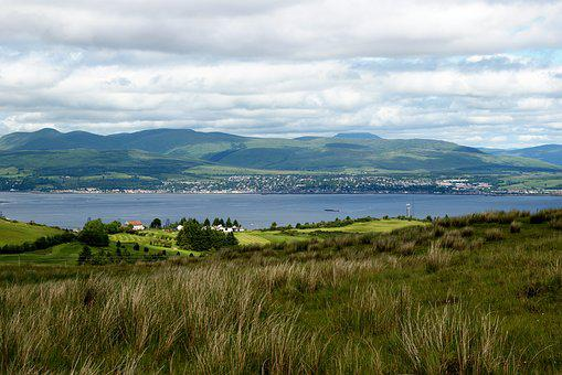 River Clyde, Hills, Landscape, Golf Course, Sky, Clouds