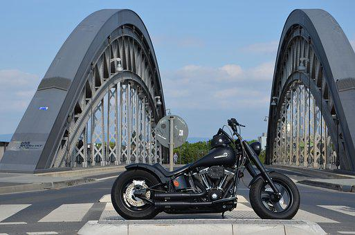 Harley Davidson, Fat Boy, Custom, Old Bridge, View