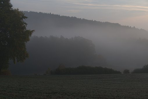Landscape, Fog, Dawn, Autumn, Backlighting, Mountains