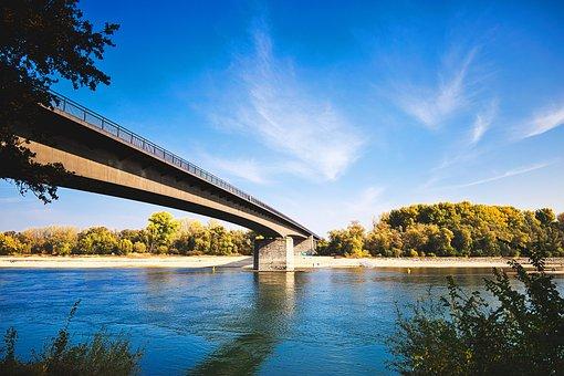 Bridge, Landscape, Rhine River, Architecture, Water