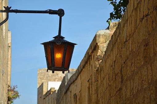Lamp, Light, Old, Alley, Mdina, Malta, Cast Iron