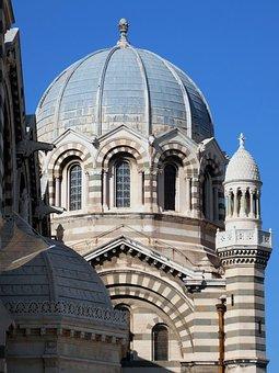 Marseille, Cathedral, Major, Dome, Architecture, Facade
