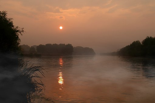 Sunrise, Water, The Haze, Reflection, Red, Sun, Morning