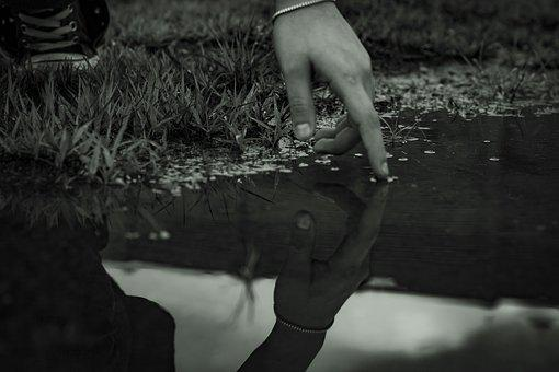 Black And White, Reflection, Hand, Rain, Puddle, Water