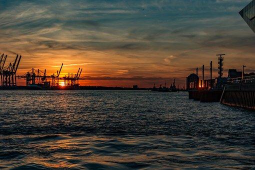 Elbe, Architecture, Hamburg, River, City