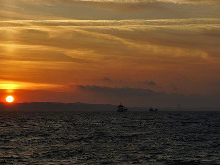 Sea, Two Ships Of The, Sunset, Ships, The Baltic Sea