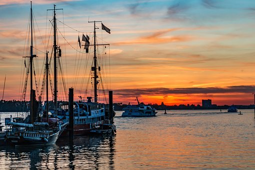 Ships, Hamburg, Old, Sailing Ships, Sunset, Lights