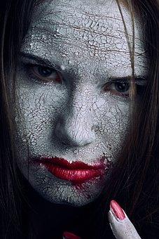 Cracked, Skin, White, Texture, Green, Eyes, Halloween