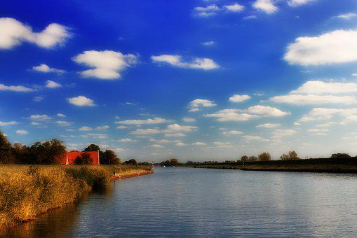 River, All, Verden, Autumn, Sky, Water, House, Bank