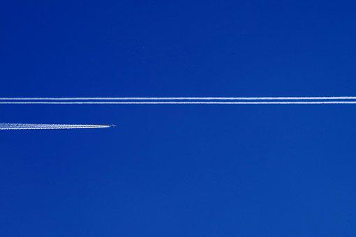 Aircraft, Flying, Stripes, Sky, Aviation, Contrail