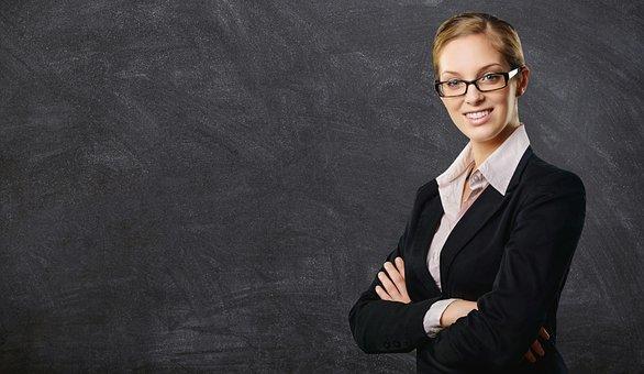 Blackboard, Business Woman, Professional, Suit, Elegant