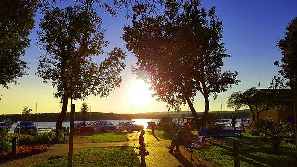 Sunset, Family, Dusk, Lake, Children, Joy, Silhouettes