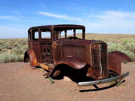 Car, Transport, Road, 66, America, Wreck, Vehicle