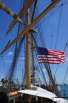 Ship, Sail, Flag, Ocean, Water, Boat, Sea, Vessel