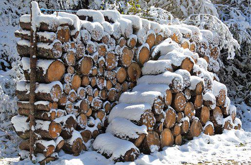 Holzstapel, Wood, Winter, Firewood, Stacked Up
