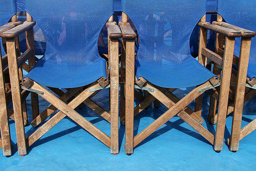 Folding Chairs, Fabric, Blue, Sit, Row, Foldable, Wood