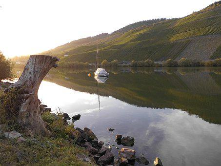 Mosel, Bank, Evening, Autumn Morning, Anchorage, Mood