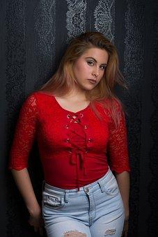 Woman, Red, Beautiful, Model, Mood, Beauty, Sensual