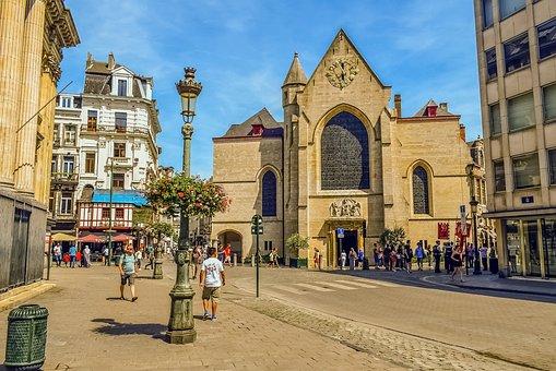 Brussels, Belgium, Street, Architecture, Church